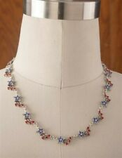 Victorian Trading Co Patriotic Star Spangled Swarovski Crystal Pewter Necklace