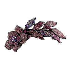 Hair Jewelry Large Crystal Long Stem Rose Barrette, Pink / Free Gift Box