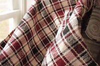 Vintage folk art throw blanket Homespun wool linen hemp cotton plaid handwoven