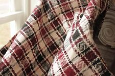 Vintage folk art throw blanket Homespun wool linen hemp cotton plaid handwoven