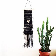"Boho Black Woven Tapestry, Brass Rod, Bohemian Wall Art Hanging, 10"" X 32"" Long"