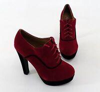 High Heels Lucky shoes Schnürer Pumps Plateau Kunstleder rot schwarz Gr. 38