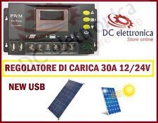 Regolatore di carica solare fotovoltaico 30A USB 12V/24V per pannello solare PWM