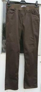 Khaki Slim-fit Cotton Trousers with Elasticated Waist RAPHAELA by Brax Size 12 S