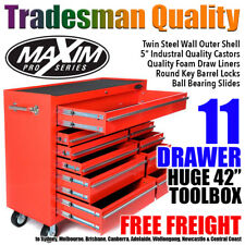 MAXIM 11 Drawer Red Roll Cabinet 42 inch Mechanic Storage High Rated Tool Box