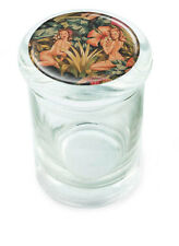 "Jungle Pin UP Girl Stash Glass Jar w/ lid Air Tight Seal Container 4.5"" Tall Mod"