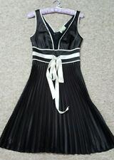 REVIEW BLACK & CREAM SATIN PLEATED LACE TRIM DRESS SIZE 8