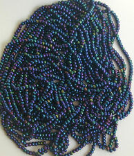 Blue Purple Teal Khaki Colors Vintage Shiny Glass Beads 58gLot 12bpi (5023802)