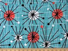 Michael Miller Mid Century Modern Atomic Turquoise Fabric