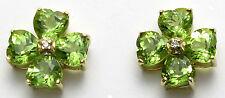 14K Yellow Gold Peridot=2.10 ct. and diamond Clover Earrings