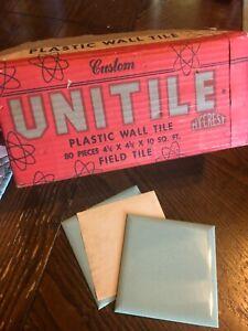 "Vintage 1950's Factory Case: Green PLASTIC TILES.  4 -1/4"". bathroom kitchen"