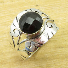 Beautiful Gemset Ring Size Q 1/2 ! 925 Silver Overlay Black Onyx Jewellery NEW
