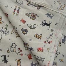 50*150cm Multicoloured Linen Fabric Patchwork DIY Quilt Craft Cat F117 B#