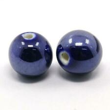 Porcelain Round Beads 10mm Dark Blue 10 Pcs Pearlised Art Hobby Jewellery Making