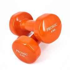 PROMIC 2x 4kg Vinyl Hanteln Gewichte für Gymnastik Kurzhanteln Orange