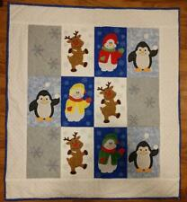 One of a Kind Snowman Penguin Reindeer Winter finished Applique Baby Quilt40x45