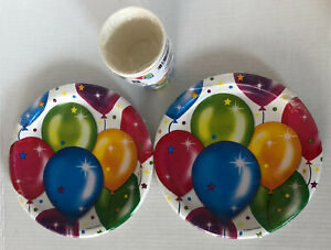 BALLOON PAPER PLATES AND CUPS LOT 3 Colorful Birthday Star Cheerful Party Deco