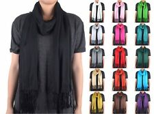 Solid Color Plain Long Scarf Wrap Shawl Soft Classic Fashion Fringe Tassel