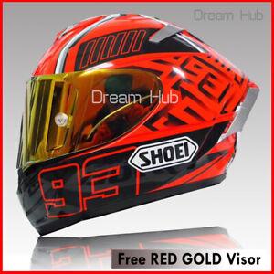 Full Face Motorcycle Helmet SHOEl X14 Spirit 3 RED Ducatti V4 Biker + GOLD Visor