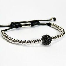 Men Women Bead Bracelet 1 Black Balls Inlaid Black Crystal 24k White Gold Plated