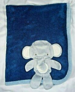 Bean Sprout Baby Boy Blue 3-D Elephant Blanket Lovey Soft Fleece Beansprout EUC