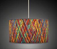 String Effect Orange Yellow Blue Retro Handmade Printed Fabric Lampshade 602