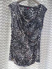 VINCE CAMUTO Shirred Black animal print blouse top shirt size XL