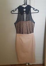 ASOS dusty nude pink bead collar pencil bodycon dress xs 6