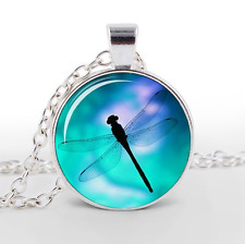 1 pcs Dragonfly Glass Cabochon Tibet silver pendant chain necklace