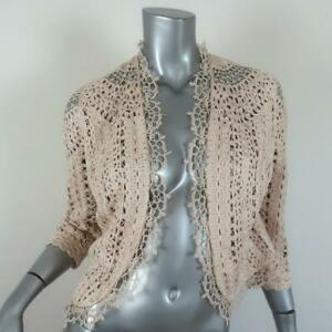 Carolina Herrera Lace Jacket Ecru Silk Size Medium Open Front 3/4 Sleeve