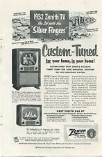 Zenith Television TV Original Advertisement Ad 1952