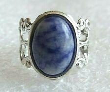 Blue Spot Jasper Gemstone Adjustable Filigree-Style Ring L-T in Gift Box