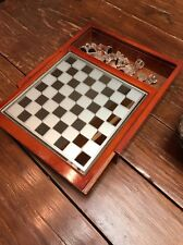"VTG Saks 5th Ave Wooden & Glass Chess Board Game Set W/ 32 Pieces. 10""x10"""