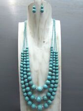 """22"""" 3 strands Turquoise Necklace graduated round Beads with Free Earrings"""