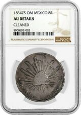 1834 ZS OM 8 Reales Silver Zacatecas First Republic NGC AU Details Cleaned Coin