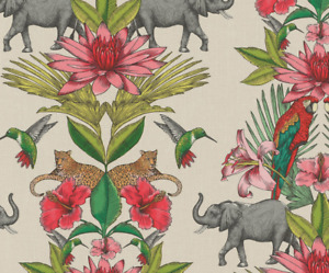 Dschungel Elefant rosa Blume Tapete Rasch 270419