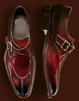 Handmade Men's Split Toe Leather Shoes, Monk Strap Burgundy Formal Lace Up Shoes