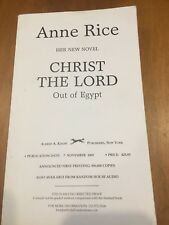 Christ The Lord Uncorrected Proof Out Of Egypt 2005 Anne Rice
