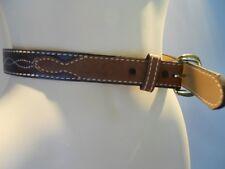 Vintage 1970s Brown Tan Leather Cowboy Cowgirl Western Belt Belt Rockabilly Xs