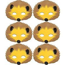 6 Foam Cute Hedgehog Masks - Animal Fancy Dress For Children & Grown Ups
