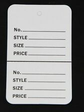 100 White Small (1.1/4 x1.7/8) Perforated Unstrung Price Consignment Store Tags