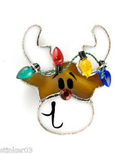 Christmas Reindeer Pin/Brooch or Pendant Switchables Stained Glass  JE229