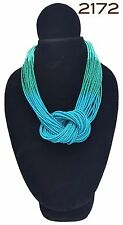 New Handmade Costume Boho Chic Turquoise Ombre' Knot Tribal Chunky Bead Necklace