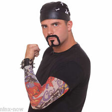 Bad Biker Costume Kit with Skull Cap, Tattoo Sleeve and Goatee Instant costume