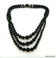 alte, Schwarze 3-reihige Jet Black facettierte Kristall edel Collier Halskette