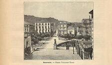 Stampa antica SORRENTO Piazza Torquato Tasso Napoli 1891 Old antique print