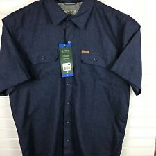 Orvis Men's Lg Short Sleeve Woven Tech Shirt Lot of 2 NWT Navy and Tan