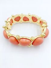 Authentic Kenneth Jay Lane Simulated Coral Cabochon Bangle Bracelet