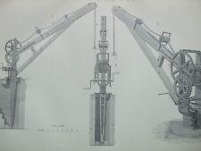 ANTIQUE PRINT C1870'S CRANE ENGRAVING INDUSTRIAL BUILDING ENGINEERING INDUSTRY