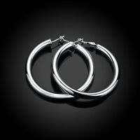 Women's 925 Sterling Silver TARNISH-FREE eXtra-Large Round Flat Hoop Earrings H8
